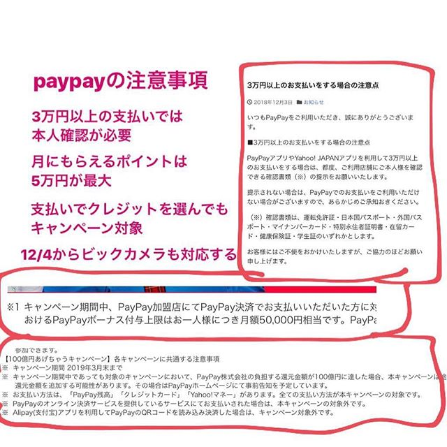 paypayの注意事項を載せておきます♡ビックカメラやジョーシンで安く買えます
