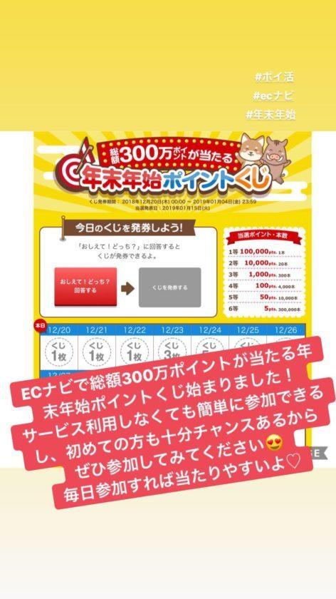 ECナビ年末年始ポイントくじ!簡単に参加で1万円が当たるチャンス