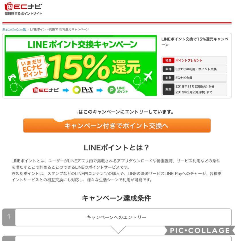 LINEポイントへのポイント交換の15%還元してくれるキャンペーンも実施中