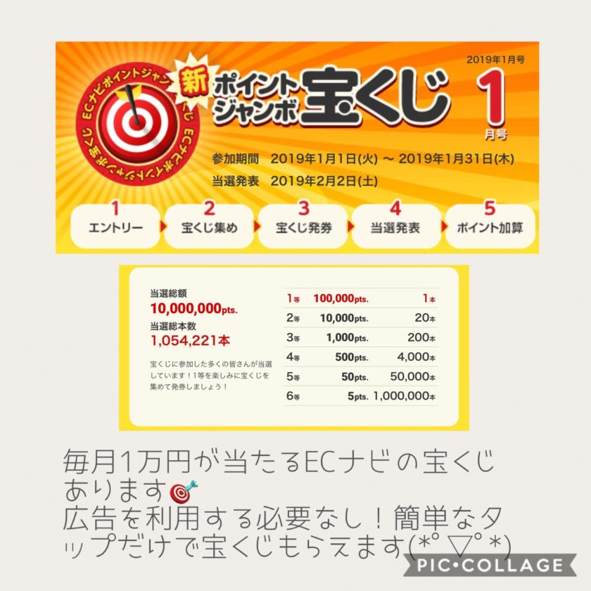 毎月1万円が当たるECナビの宝くじ。広告を利用する必要なし!簡単なタップだけで宝くじがもらえます☆