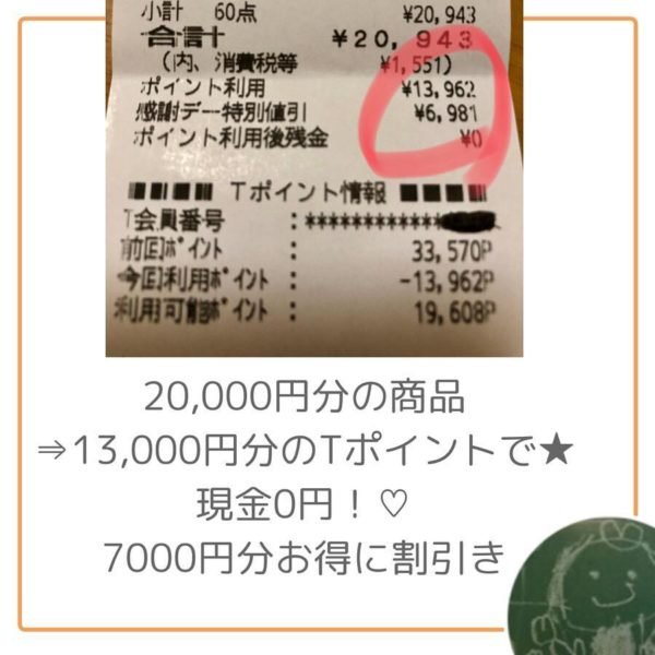 20000円分の商品13000円分のTポイントで現金0円7000円お得に割引です