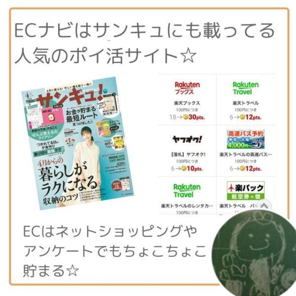 ECナビはサンキュにも掲載されている人気のポイ活サイト