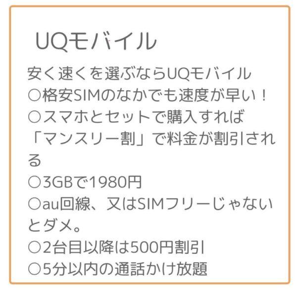 UQモバイルは安くて早い