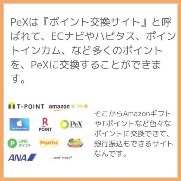 PeXは『ポイント交換サイト』と呼ばれて、ECナビやハピタス、ポイントインカム、など多くのポイントを、PeXに交換することができます。
