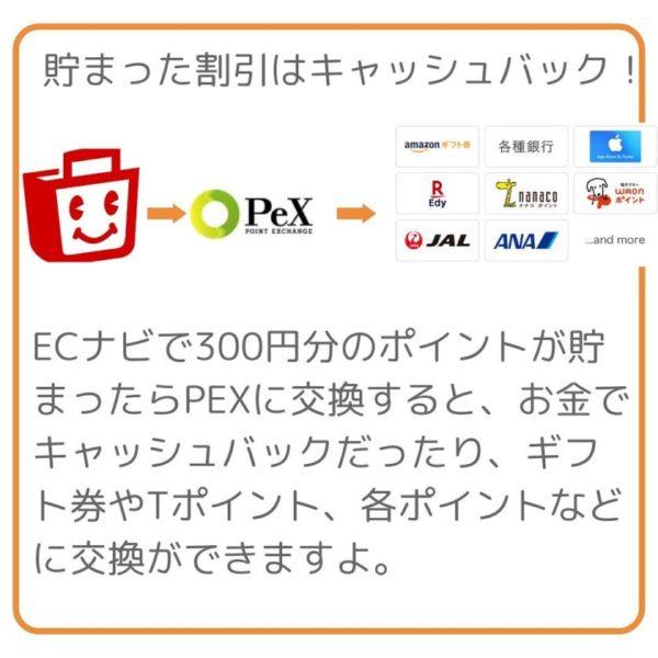 ECナビで300円分のポイントが貯まったらPEXに交換すると、お金でキャッシュバックだったり、ギフト券やTポイント、各ポイントなどに交換ができますよ。